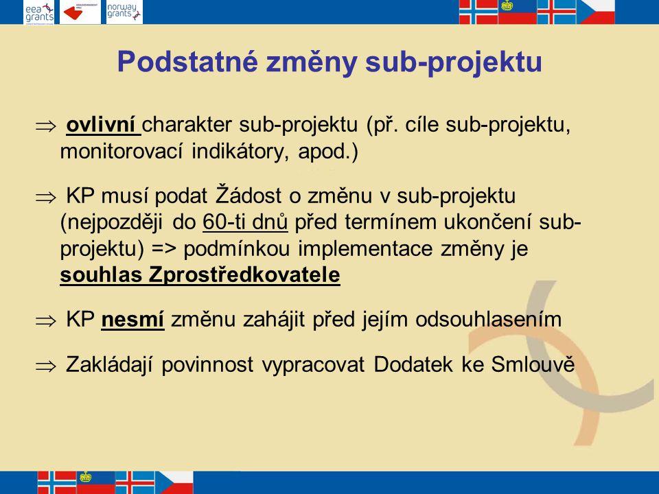 Podstatné změny sub-projektu  ovlivní charakter sub-projektu (př.