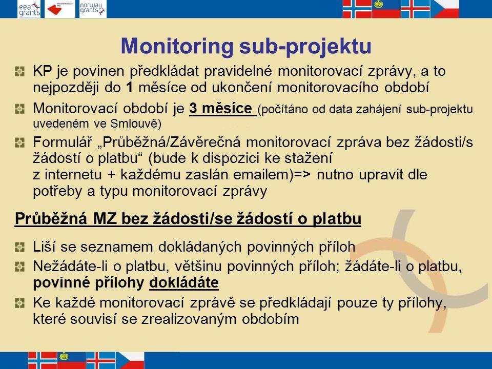 """Monitoring sub-projektu KP je povinen předkládat pravidelné monitorovací zprávy, a to nejpozději do 1 měsíce od ukončení monitorovacího období Monitorovací období je 3 měsíce (počítáno od data zahájení sub-projektu uvedeném ve Smlouvě) Formulář """"Průběžná/Závěrečná monitorovací zpráva bez žádosti/s žádostí o platbu (bude k dispozici ke stažení z internetu + každému zaslán emailem)=> nutno upravit dle potřeby a typu monitorovací zprávy Průběžná MZ bez žádosti/se žádostí o platbu Liší se seznamem dokládaných povinných příloh Nežádáte-li o platbu, většinu povinných příloh; žádáte-li o platbu, povinné přílohy dokládáte Ke každé monitorovací zprávě se předkládají pouze ty přílohy, které souvisí se zrealizovaným obdobím"""