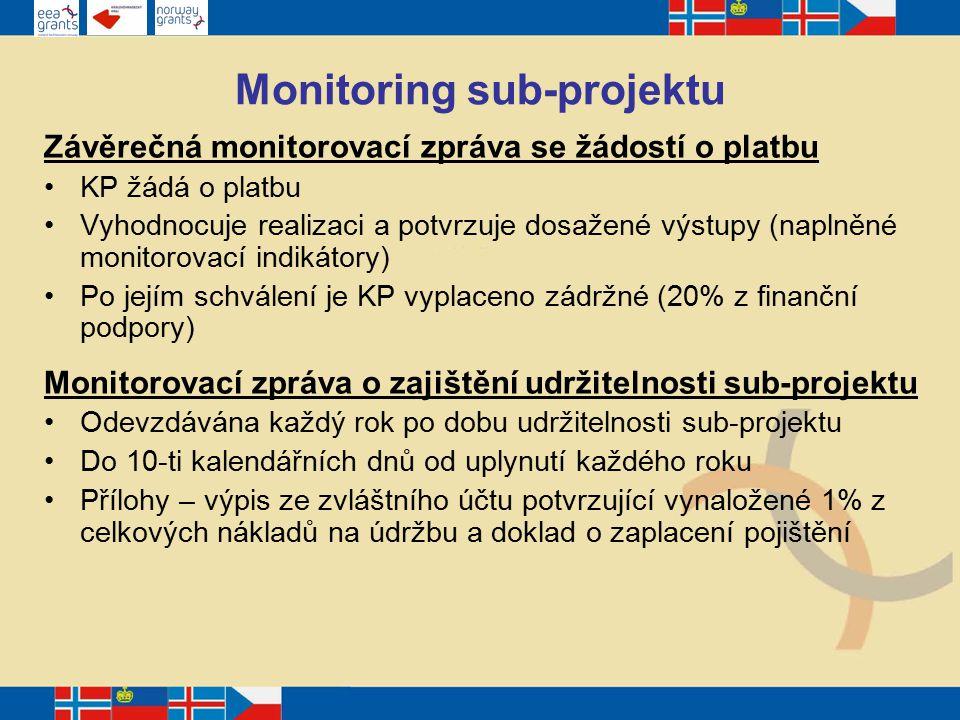 Monitoring sub-projektu Závěrečná monitorovací zpráva se žádostí o platbu KP žádá o platbu Vyhodnocuje realizaci a potvrzuje dosažené výstupy (naplněné monitorovací indikátory) Po jejím schválení je KP vyplaceno zádržné (20% z finanční podpory) Monitorovací zpráva o zajištění udržitelnosti sub-projektu Odevzdávána každý rok po dobu udržitelnosti sub-projektu Do 10-ti kalendářních dnů od uplynutí každého roku Přílohy – výpis ze zvláštního účtu potvrzující vynaložené 1% z celkových nákladů na údržbu a doklad o zaplacení pojištění