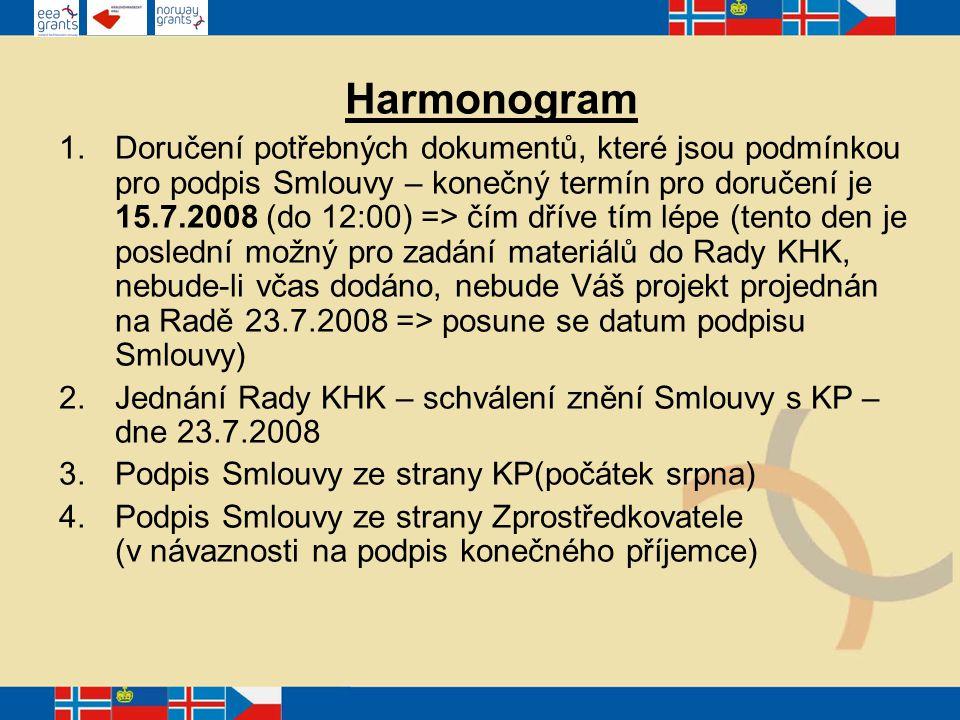 Harmonogram 1.Doručení potřebných dokumentů, které jsou podmínkou pro podpis Smlouvy – konečný termín pro doručení je 15.7.2008 (do 12:00) => čím dříve tím lépe (tento den je poslední možný pro zadání materiálů do Rady KHK, nebude-li včas dodáno, nebude Váš projekt projednán na Radě 23.7.2008 => posune se datum podpisu Smlouvy) 2.Jednání Rady KHK – schválení znění Smlouvy s KP – dne 23.7.2008 3.Podpis Smlouvy ze strany KP(počátek srpna) 4.Podpis Smlouvy ze strany Zprostředkovatele (v návaznosti na podpis konečného příjemce)