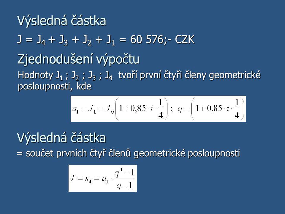Výsledná částka J = J 4 + J 3 + J 2 + J 1 = 60 576;- CZK Zjednodušení výpočtu Hodnoty J 1 ; J 2 ; J 3 ; J 4 tvoří první čtyři členy geometrické posloupnosti, kde Výsledná částka = součet prvních čtyř členů geometrické posloupnosti