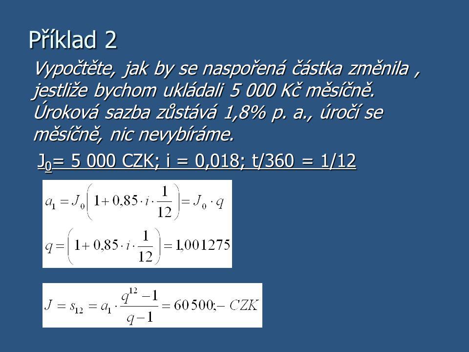 Obecný výpočet uspořené částky J … celková naspořená částka J 0 … výše jednoho vkladu i … roční úroková míra t … počet dní úrokovacího období n … počet vkladů (počet úrokovacích období)