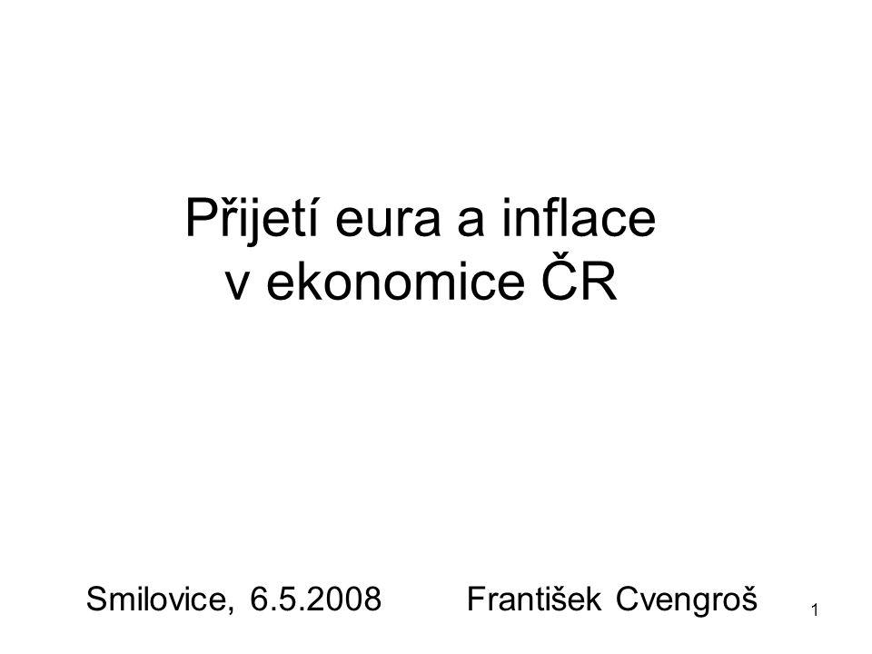 1 Přijetí eura a inflace v ekonomice ČR Smilovice, 6.5.2008 František Cvengroš