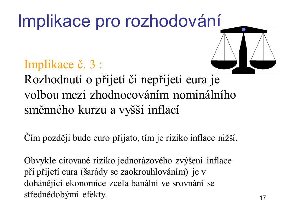 17 Implikace pro rozhodování Implikace č.