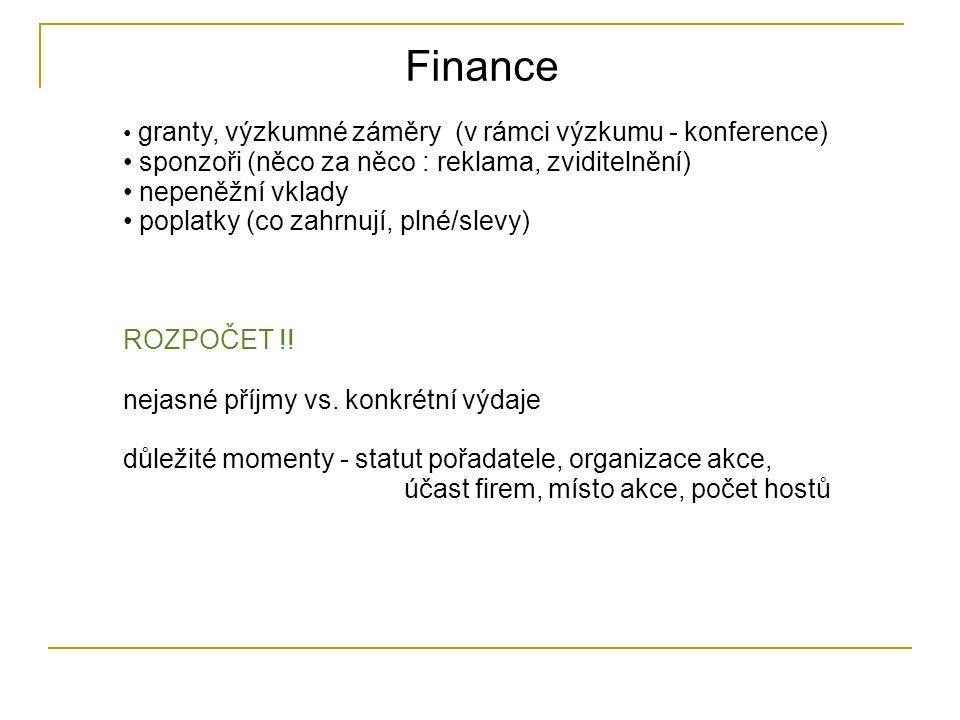 Finance granty, výzkumné záměry (v rámci výzkumu - konference) sponzoři (něco za něco : reklama, zviditelnění) nepeněžní vklady poplatky (co zahrnují, plné/slevy) ROZPOČET !.