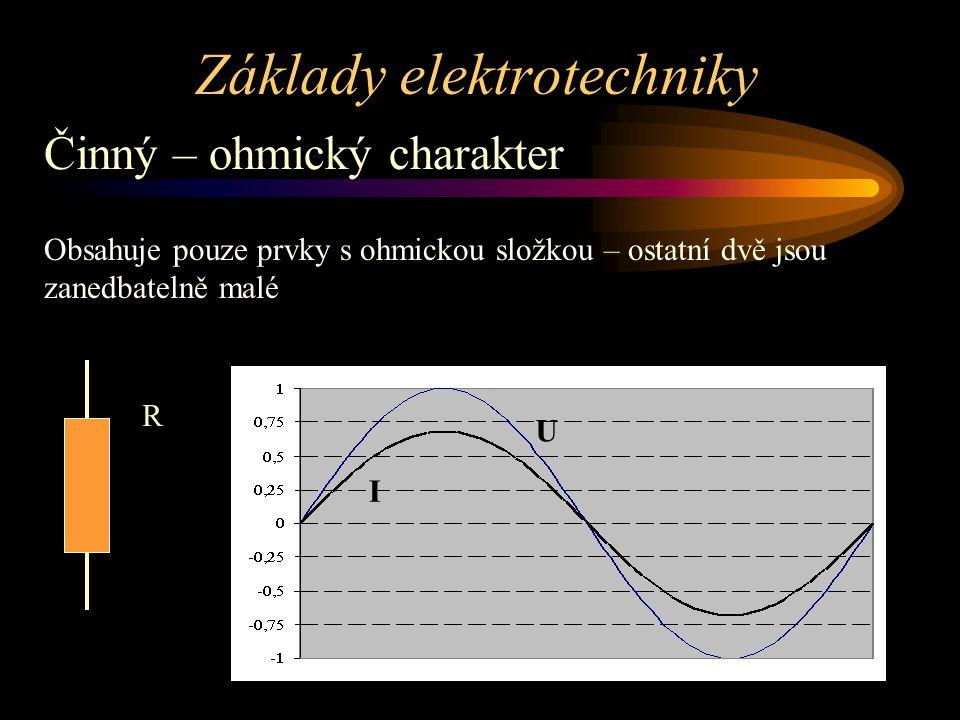 Základy elektrotechniky Činný – ohmický charakter Obsahuje pouze prvky s ohmickou složkou – ostatní dvě jsou zanedbatelně malé R U I
