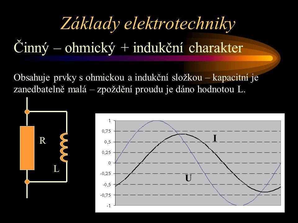 Základy elektrotechniky Činný – ohmický + indukční charakter Obsahuje prvky s ohmickou a indukční složkou – kapacitní je zanedbatelně malá – zpoždění