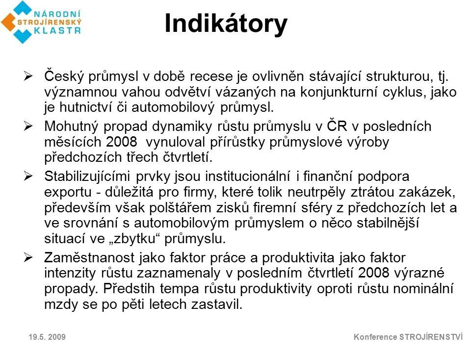 Indikátory  Český průmysl v době recese je ovlivněn stávající strukturou, tj. významnou vahou odvětví vázaných na konjunkturní cyklus, jako je hutnic