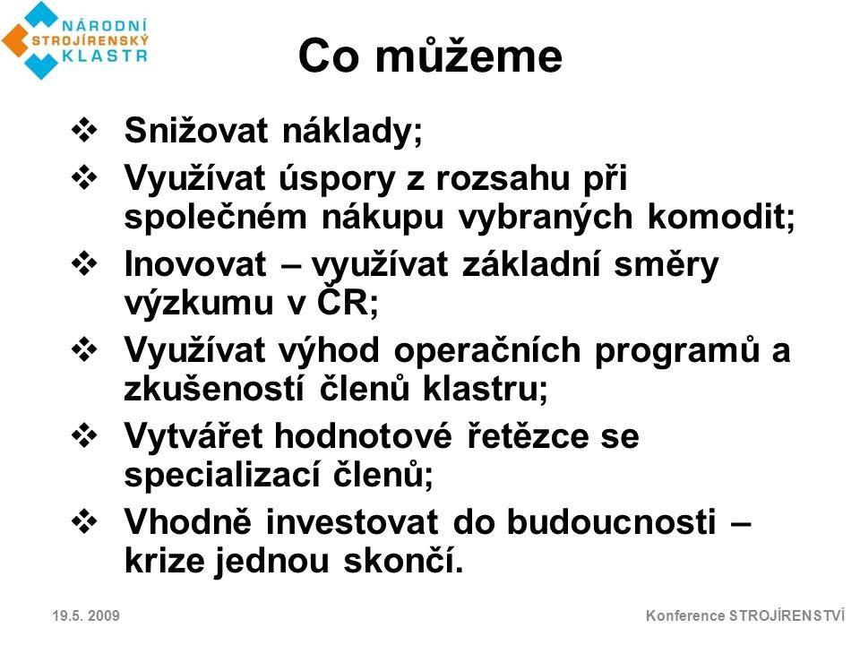 Co můžeme  Snižovat náklady;  Využívat úspory z rozsahu při společném nákupu vybraných komodit;  Inovovat – využívat základní směry výzkumu v ČR; 