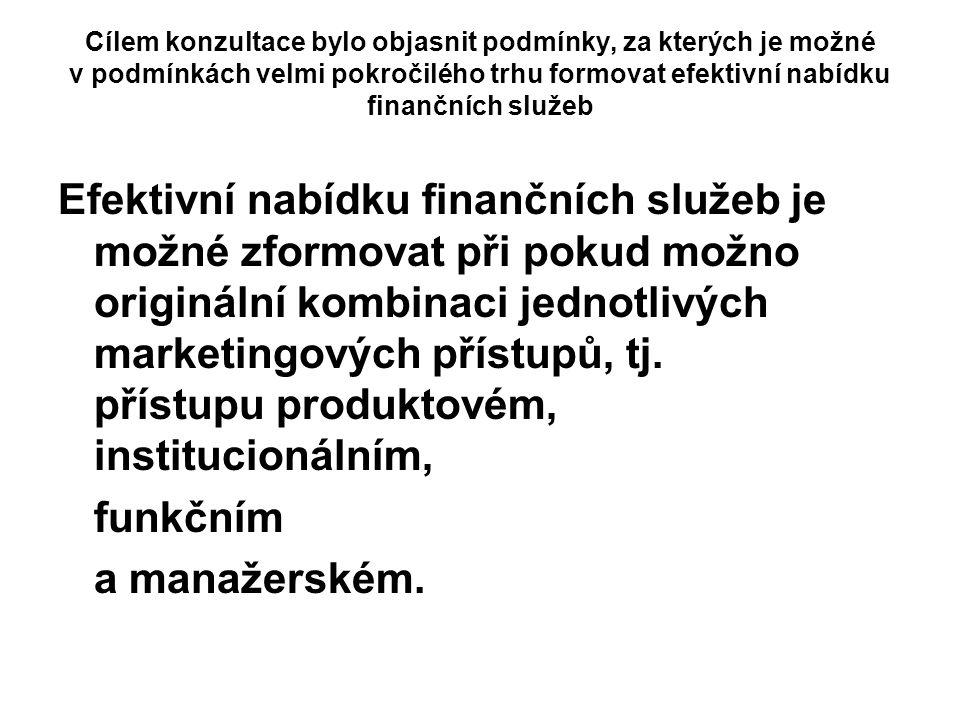 Cílem konzultace bylo objasnit podmínky, za kterých je možné v podmínkách velmi pokročilého trhu formovat efektivní nabídku finančních služeb Efektivn