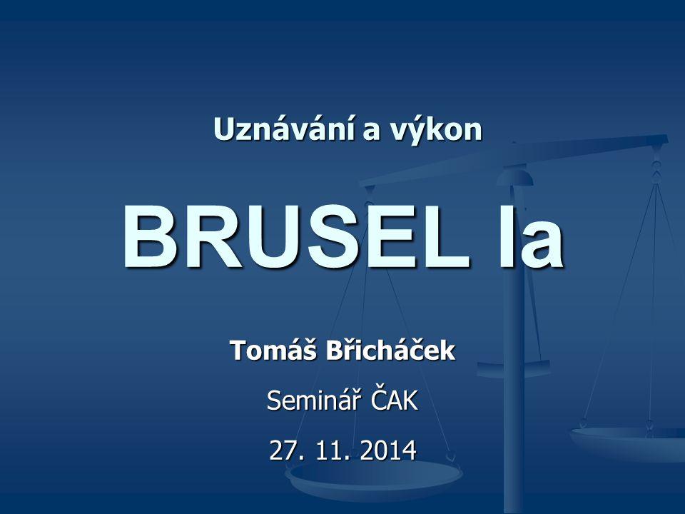 BRUSEL Ia Tomáš Břicháček Seminář ČAK 27. 11. 2014 Uznávání a výkon