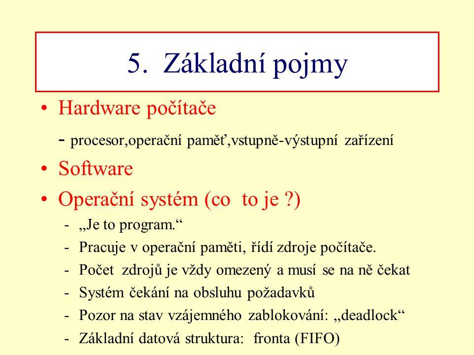 """5. Základní pojmy Hardware počítače - procesor,operační paměť,vstupně-výstupní zařízení Software Operační systém (co to je ?) -""""Je to program."""" -Pracu"""
