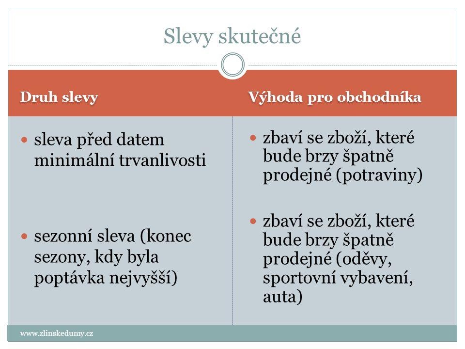 Druh slevy Výhoda pro obchodníka www.zlinskedumy.cz sleva před datem minimální trvanlivosti sezonní sleva (konec sezony, kdy byla poptávka nejvyšší) z
