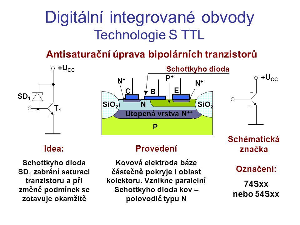 Digitální integrované obvody Technologie S TTL Antisaturační úprava bipolárních tranzistorů +U CC SD 1 T1T1 E B C N+N+ N N+N+ Utopená vrstva N ++ P Si