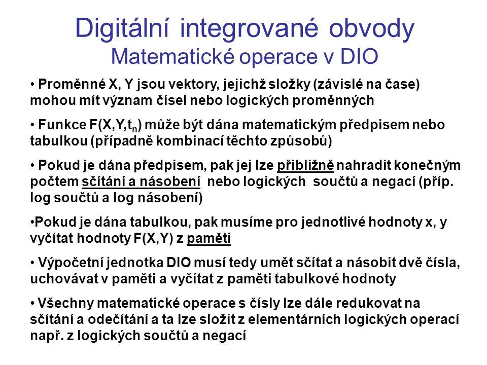 Digitální integrované obvody Matematické operace v DIO Proměnné X, Y jsou vektory, jejichž složky (závislé na čase) mohou mít význam čísel nebo logick