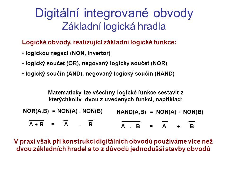 Digitální integrované obvody Základní logická hradla Logické obvody, realizující základní logické funkce: logickou negaci (NON, Invertor) logický souč