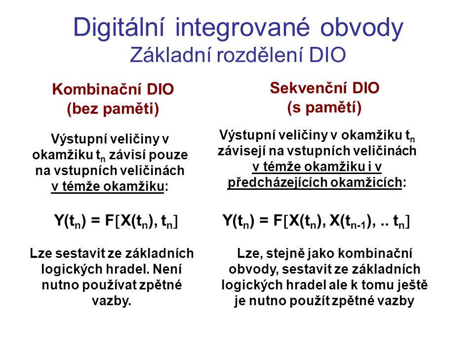 Digitální integrované obvody Základní rozdělení DIO Kombinační DIO (bez paměti) Výstupní veličiny v okamžiku t n závisí pouze na vstupních veličinách