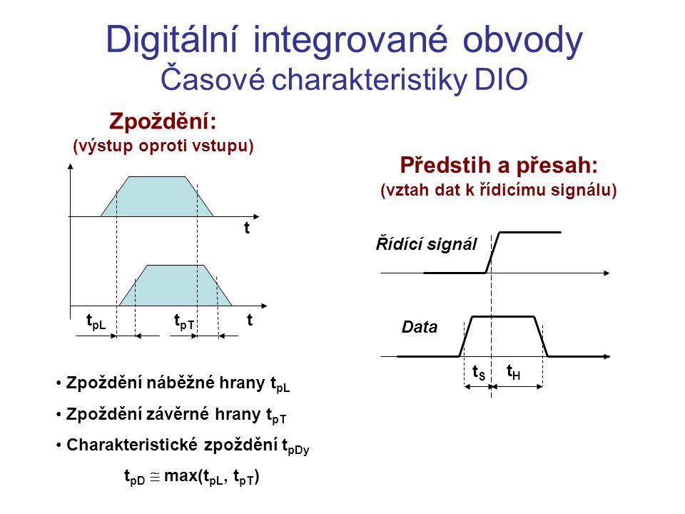 Digitální integrované obvody Časové charakteristiky DIO Zpoždění: (výstup oproti vstupu) t pL t pT t t Zpoždění náběžné hrany t pL Zpoždění závěrné hr