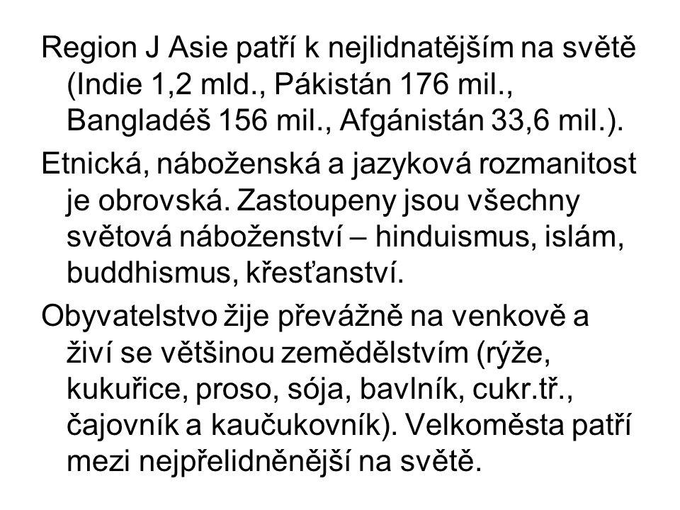 Region J Asie patří k nejlidnatějším na světě (Indie 1,2 mld., Pákistán 176 mil., Bangladéš 156 mil., Afgánistán 33,6 mil.). Etnická, náboženská a jaz