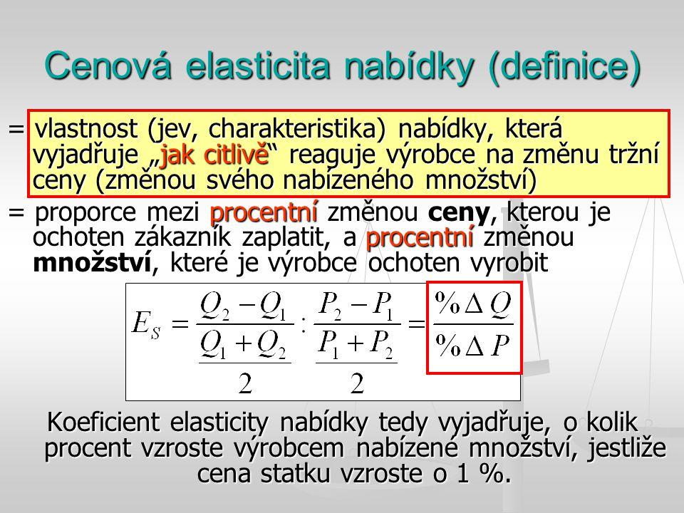 """Cenová elasticita nabídky (definice) = vlastnost (jev, charakteristika) nabídky, která vyjadřuje """"jak citlivě"""" reaguje výrobce na změnu tržní ceny (zm"""