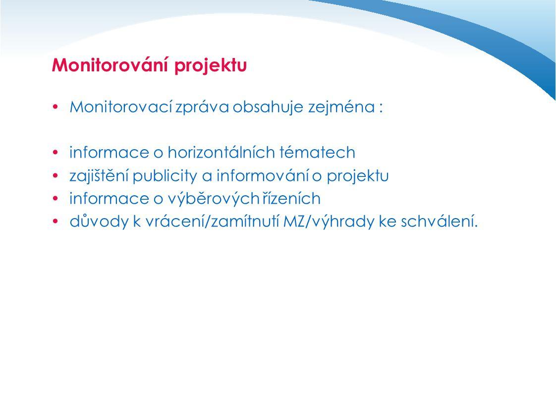 Monitorování projektu  Monitorovací zpráva obsahuje zejména :  informace o horizontálních tématech  zajištění publicity a informování o projektu 