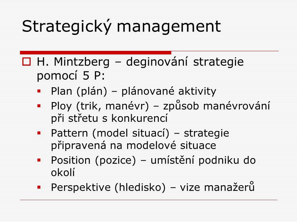 Strategický management  Strategická kontrola  varovat před problémy s předstihem  průběh kontroly:  určit, co se má kontrolovat  podle jakého standardu  měření výkonu  posouzení, zda změřený výkon odpovídá standardu  případná opatření – změna strategie