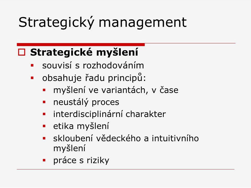 Strategický management  Strategické myšlení  souvisí s rozhodováním  obsahuje řadu principů:  myšlení ve variantách, v čase  neustálý proces  interdisciplinární charakter  etika myšlení  skloubení vědeckého a intuitivního myšlení  práce s riziky