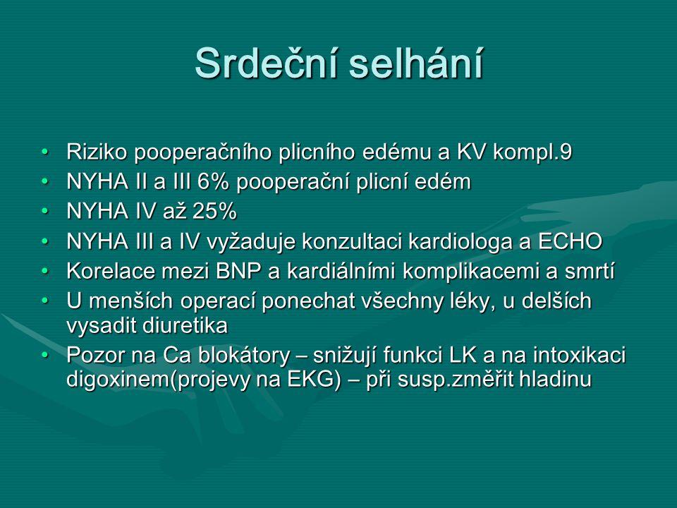 Srdeční selhání Riziko pooperačního plicního edému a KV kompl.9Riziko pooperačního plicního edému a KV kompl.9 NYHA II a III 6% pooperační plicní edémNYHA II a III 6% pooperační plicní edém NYHA IV až 25%NYHA IV až 25% NYHA III a IV vyžaduje konzultaci kardiologa a ECHONYHA III a IV vyžaduje konzultaci kardiologa a ECHO Korelace mezi BNP a kardiálními komplikacemi a smrtíKorelace mezi BNP a kardiálními komplikacemi a smrtí U menších operací ponechat všechny léky, u delších vysadit diuretikaU menších operací ponechat všechny léky, u delších vysadit diuretika Pozor na Ca blokátory – snižují funkci LK a na intoxikaci digoxinem(projevy na EKG) – při susp.změřit hladinuPozor na Ca blokátory – snižují funkci LK a na intoxikaci digoxinem(projevy na EKG) – při susp.změřit hladinu