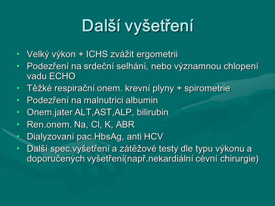 Další vyšetření Velký výkon + ICHS zvážit ergometriiVelký výkon + ICHS zvážit ergometrii Podezření na srdeční selhání, nebo významnou chlopení vadu ECHOPodezření na srdeční selhání, nebo významnou chlopení vadu ECHO Těžké respirační onem.