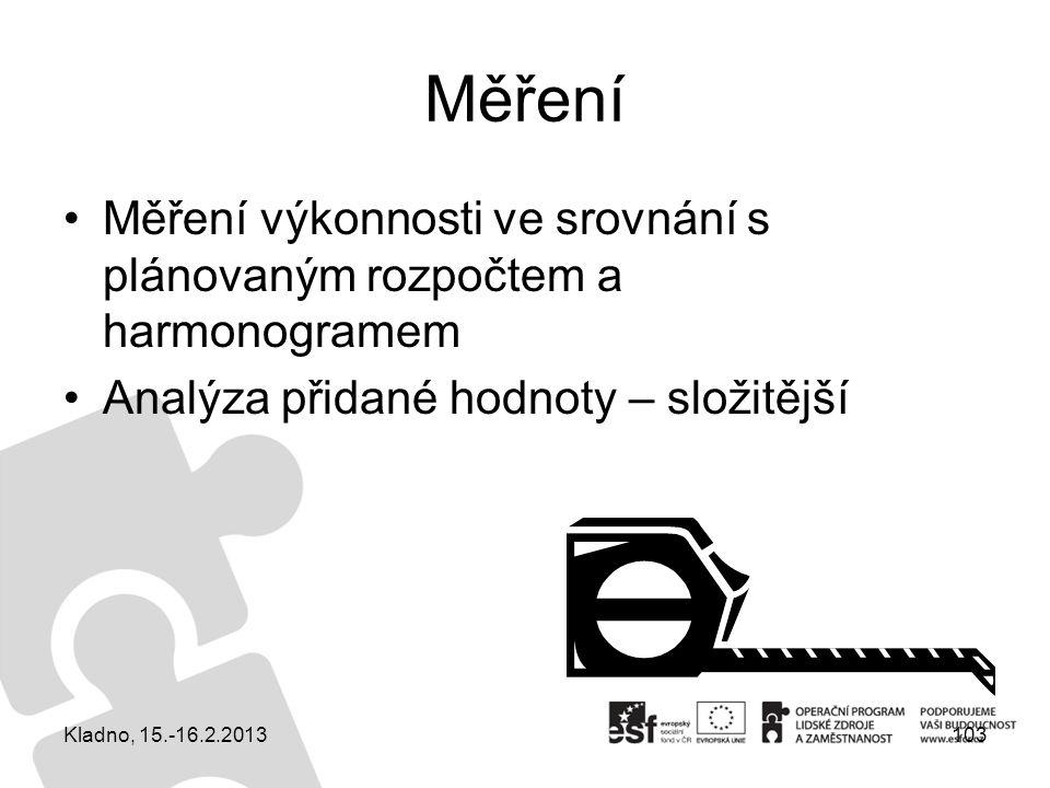 Měření Měření výkonnosti ve srovnání s plánovaným rozpočtem a harmonogramem Analýza přidané hodnoty – složitější 103Kladno, 15.-16.2.2013