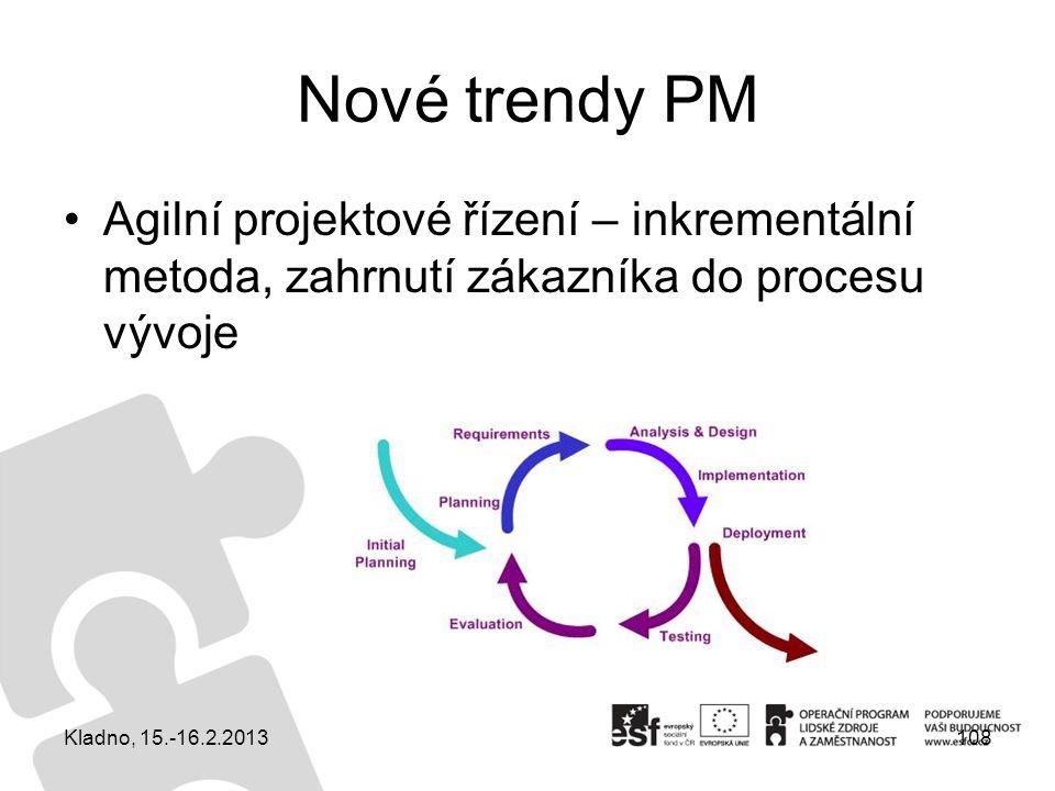 Nové trendy PM Agilní projektové řízení – inkrementální metoda, zahrnutí zákazníka do procesu vývoje 108Kladno, 15.-16.2.2013