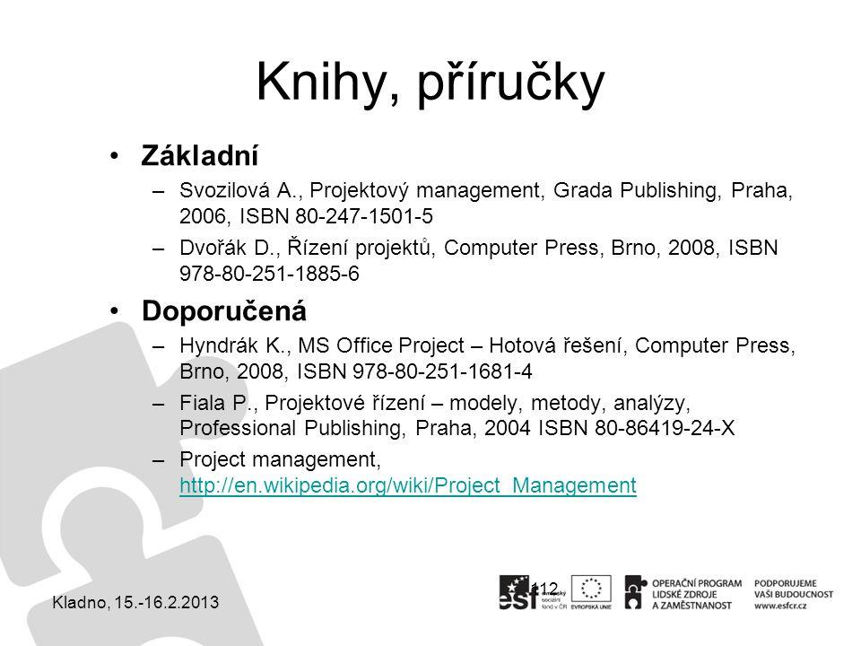 112 Knihy, příručky Základní –Svozilová A., Projektový management, Grada Publishing, Praha, 2006, ISBN 80-247-1501-5 –Dvořák D., Řízení projektů, Comp
