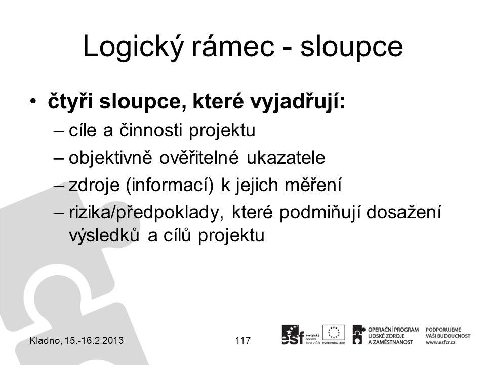 117 Logický rámec - sloupce čtyři sloupce, které vyjadřují: –cíle a činnosti projektu –objektivně ověřitelné ukazatele –zdroje (informací) k jejich mě