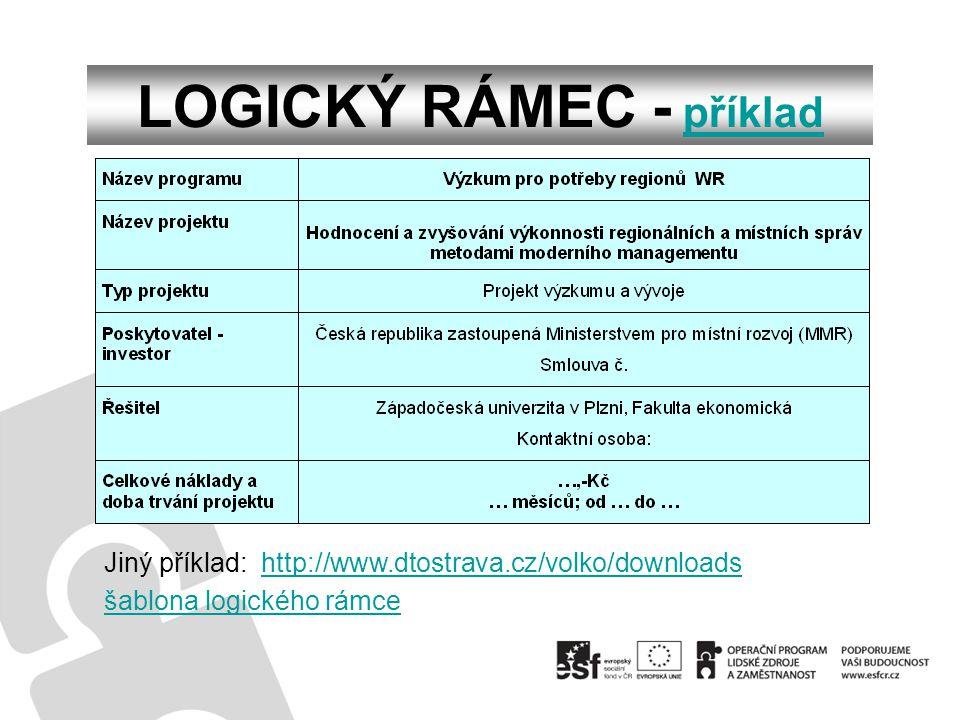 LOGICKÝ RÁMEC - příkladpříklad Jiný příklad: http://www.dtostrava.cz/volko/downloadshttp://www.dtostrava.cz/volko/downloads šablona logického rámce