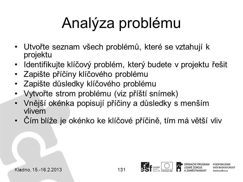 131 Analýza problému Utvořte seznam všech problémů, které se vztahují k projektu Identifikujte klíčový problém, který budete v projektu řešit Zapište