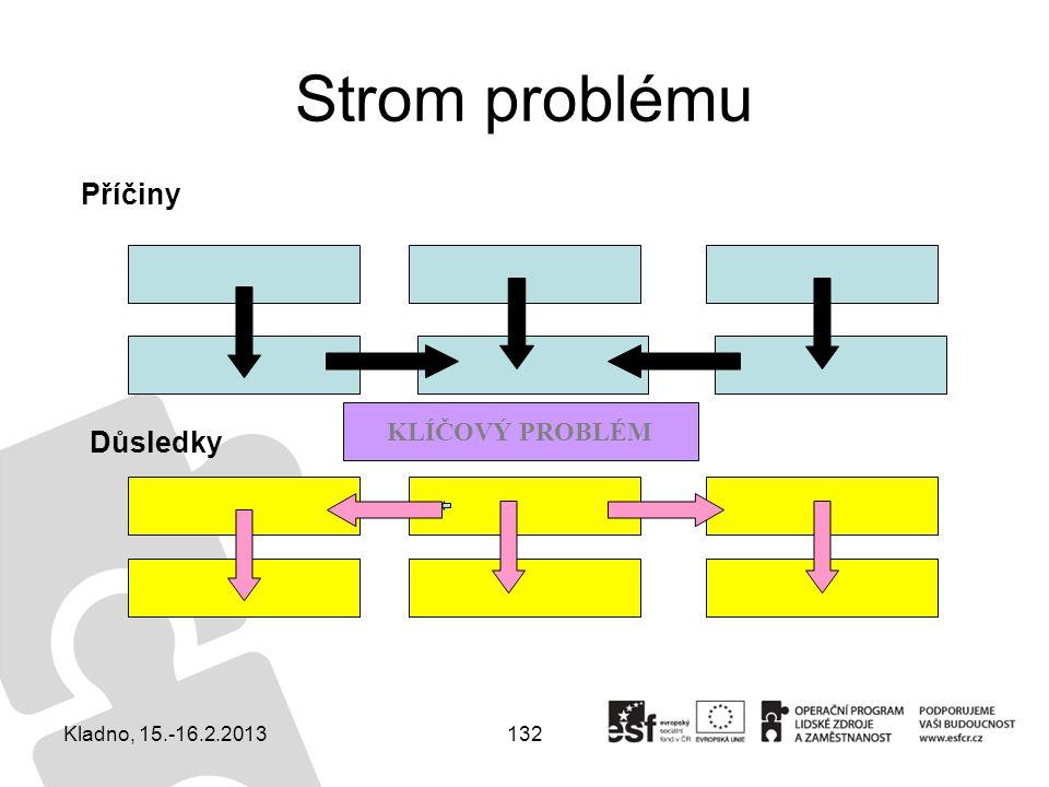 132 Strom problému Příčiny Důsledky KLÍČOVÝ PROBLÉM Kladno, 15.-16.2.2013