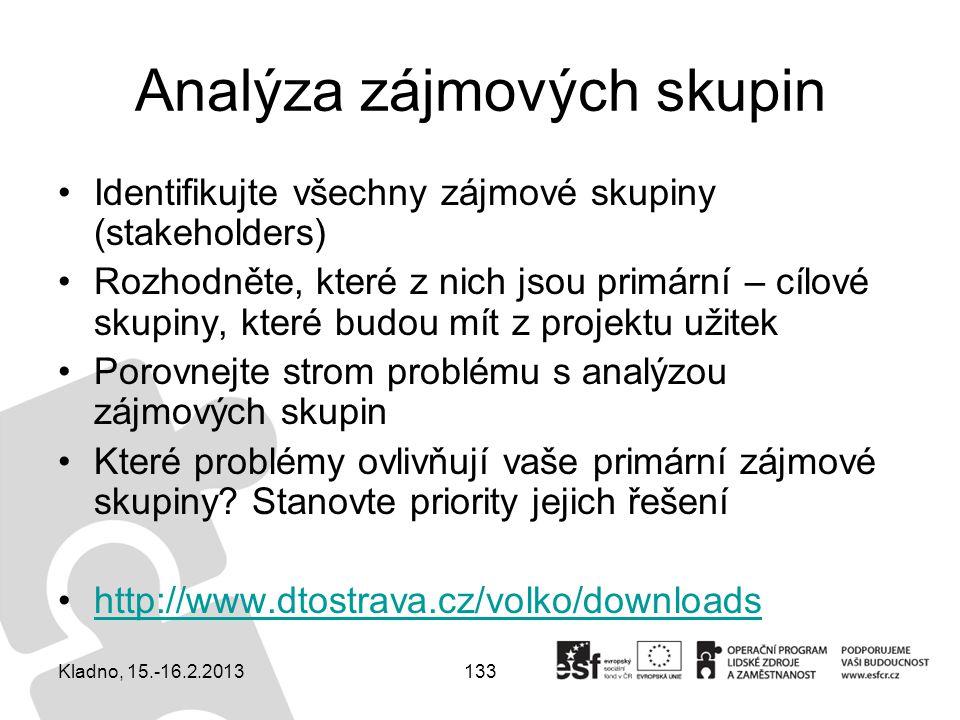 133 Analýza zájmových skupin Identifikujte všechny zájmové skupiny (stakeholders) Rozhodněte, které z nich jsou primární – cílové skupiny, které budou