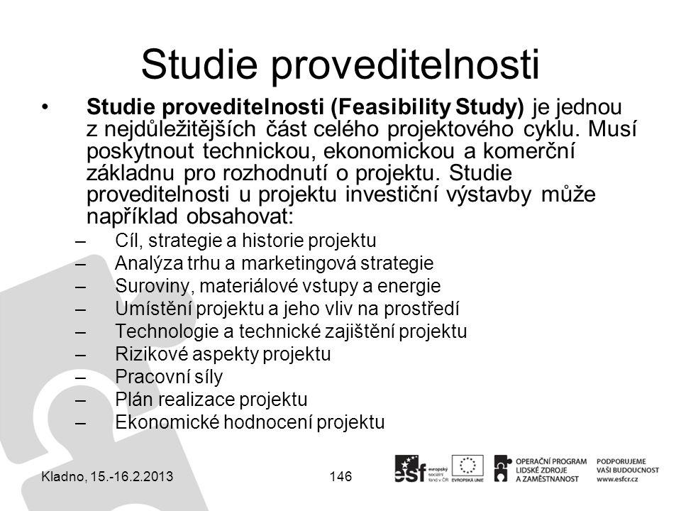 146 Studie proveditelnosti Studie proveditelnosti (Feasibility Study) je jednou z nejdůležitějších část celého projektového cyklu. Musí poskytnout tec