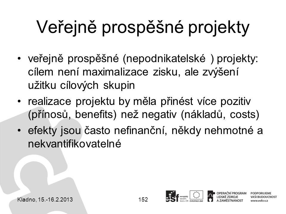 152 Veřejně prospěšné projekty veřejně prospěšné (nepodnikatelské ) projekty: cílem není maximalizace zisku, ale zvýšení užitku cílových skupin realiz