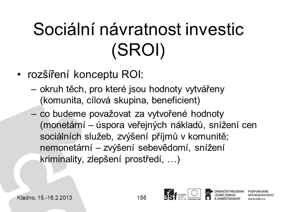 156 Sociální návratnost investic (SROI) rozšíření konceptu ROI: –okruh těch, pro které jsou hodnoty vytvářeny (komunita, cílová skupina, beneficient)