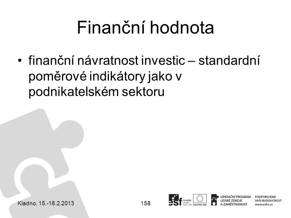 158 Finanční hodnota finanční návratnost investic – standardní poměrové indikátory jako v podnikatelském sektoru Kladno, 15.-16.2.2013