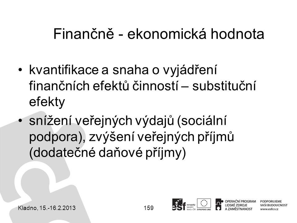 159 Finančně - ekonomická hodnota kvantifikace a snaha o vyjádření finančních efektů činností – substituční efekty snížení veřejných výdajů (sociální