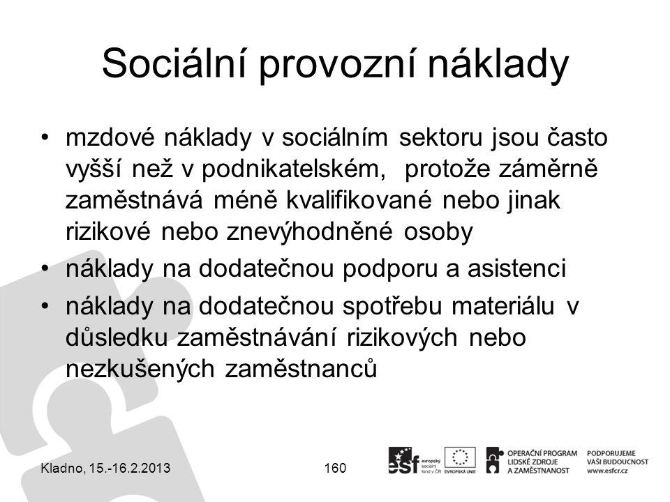 160 Sociální provozní náklady mzdové náklady v sociálním sektoru jsou často vyšší než v podnikatelském, protože záměrně zaměstnává méně kvalifikované