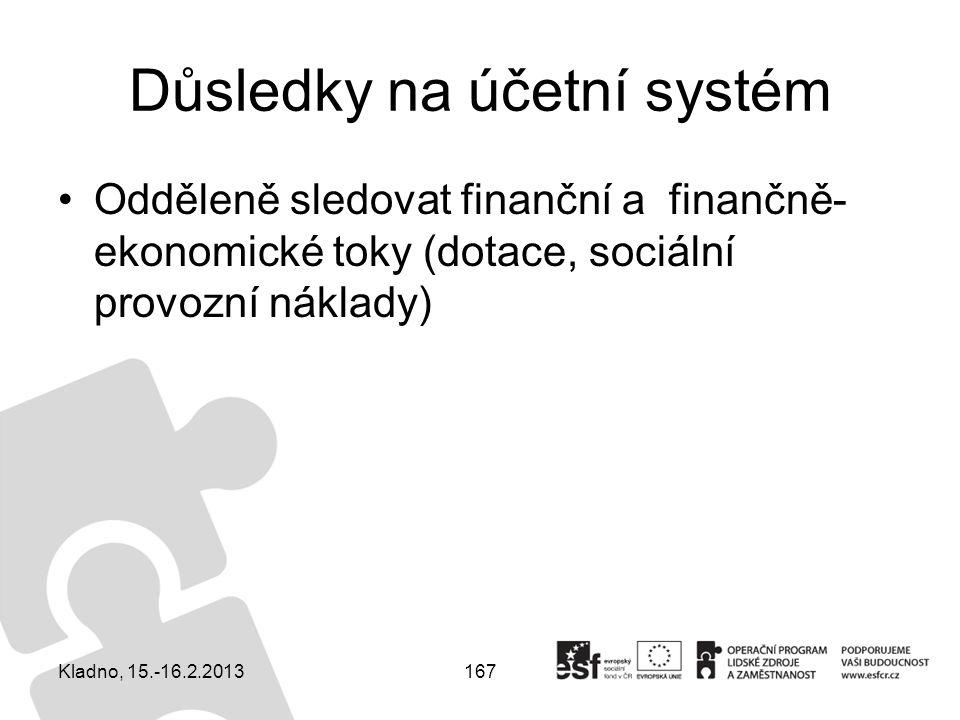 167 Důsledky na účetní systém Odděleně sledovat finanční a finančně- ekonomické toky (dotace, sociální provozní náklady) Kladno, 15.-16.2.2013