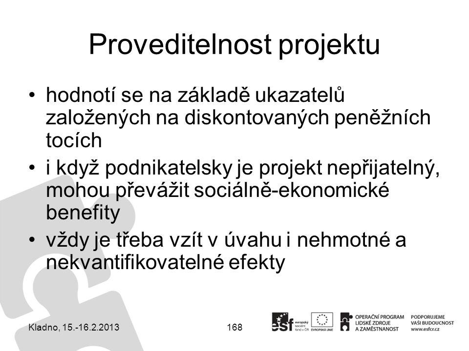 168 Proveditelnost projektu hodnotí se na základě ukazatelů založených na diskontovaných peněžních tocích i když podnikatelsky je projekt nepřijatelný