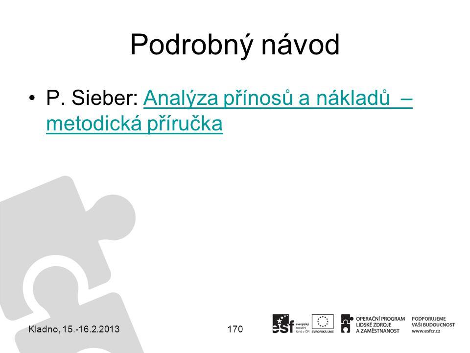 170 Podrobný návod P. Sieber: Analýza přínosů a nákladů – metodická příručkaAnalýza přínosů a nákladů – metodická příručka Kladno, 15.-16.2.2013