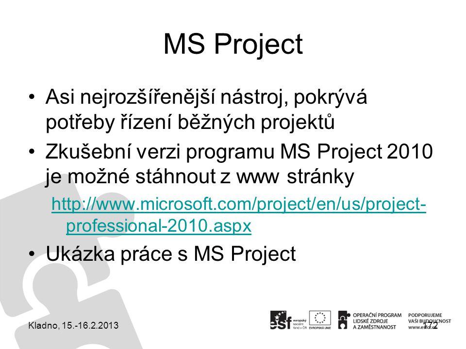 MS Project Asi nejrozšířenější nástroj, pokrývá potřeby řízení běžných projektů Zkušební verzi programu MS Project 2010 je možné stáhnout z www stránk