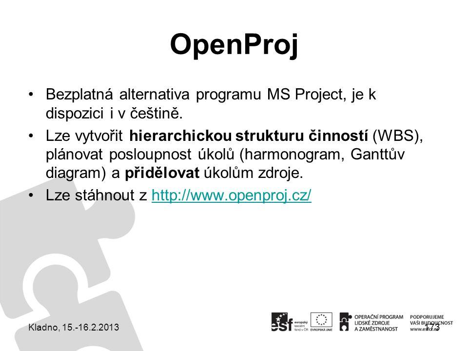 OpenProj Bezplatná alternativa programu MS Project, je k dispozici i v češtině. Lze vytvořit hierarchickou strukturu činností (WBS), plánovat posloupn
