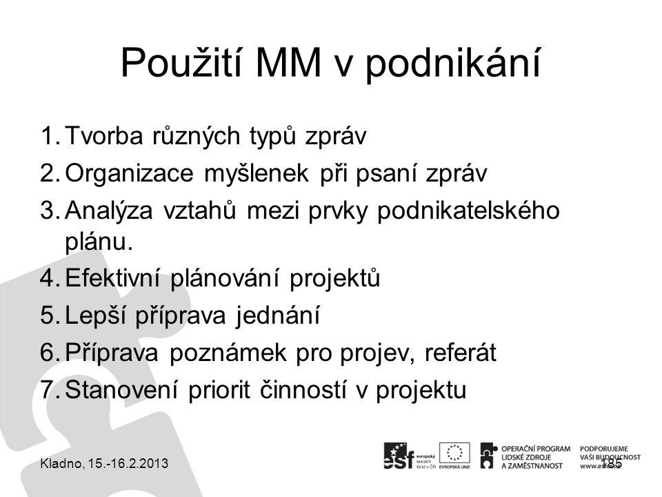 185 Použití MM v podnikání 1.Tvorba různých typů zpráv 2.Organizace myšlenek při psaní zpráv 3.Analýza vztahů mezi prvky podnikatelského plánu. 4.Efek