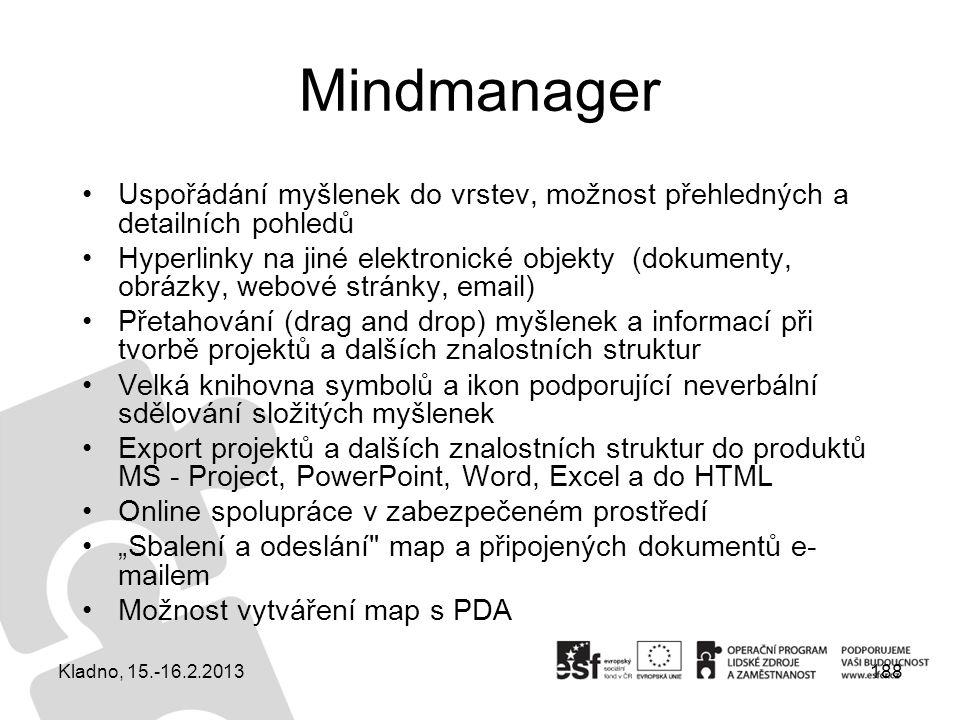 188 Mindmanager Uspořádání myšlenek do vrstev, možnost přehledných a detailních pohledů Hyperlinky na jiné elektronické objekty (dokumenty, obrázky, w